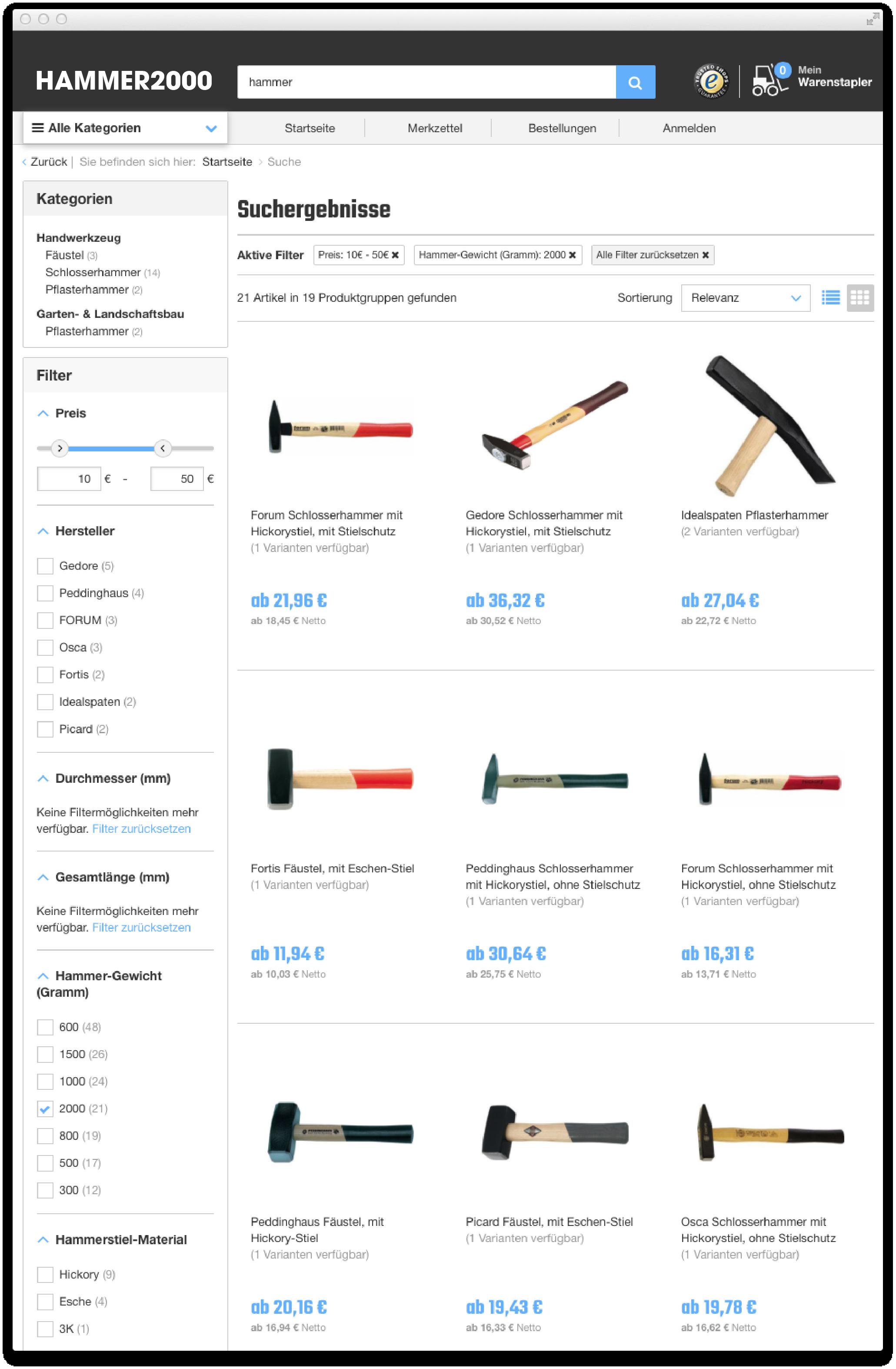 On-site search design patterns for e-commerce: schema